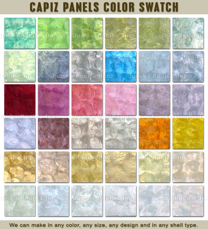 Colored Wall Decor Shell Panels Mother of Pearl Capiz Tiles