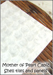 Mother of pearl capiz shell tiles and wall panels